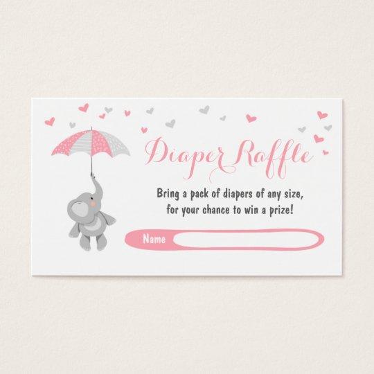 Elephant Diaper Raffle Card Pink Girl Baby Shower