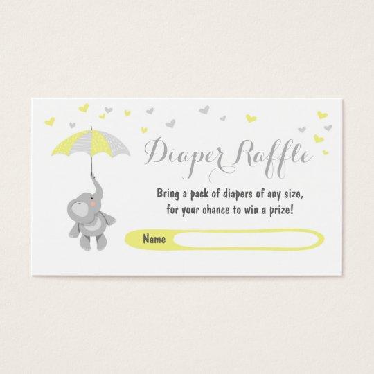 Elephant Diaper Raffle Card Yellow Baby Shower