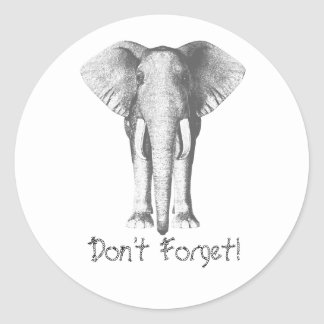 Elephant -- Don't Forget! Round Sticker