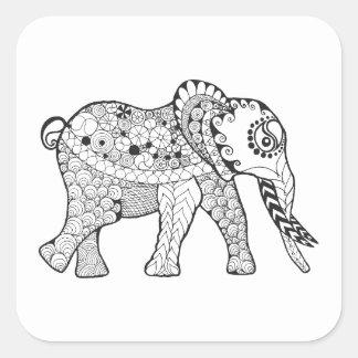 Elephant Doodle Square Sticker