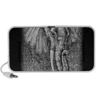 Elephant Drawing Black and White Animal Art Notebook Speakers