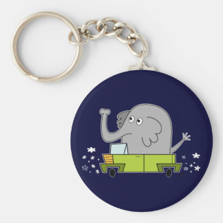 Elephant Driving a Car - Keychain