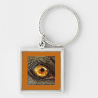 Elephant Eye Silver-Colored Square Key Ring