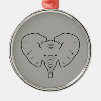 Elephant face silhouette christmas ornament