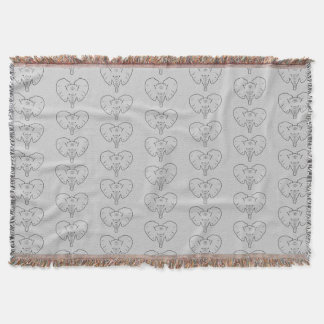 Elephant face silhouette throw blanket