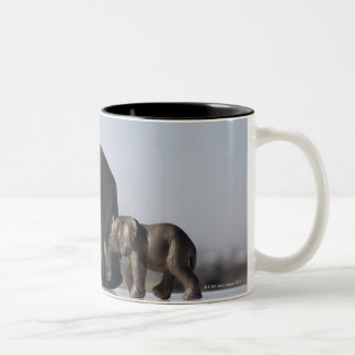 Elephant Family background blue sky Two-Tone Coffee Mug