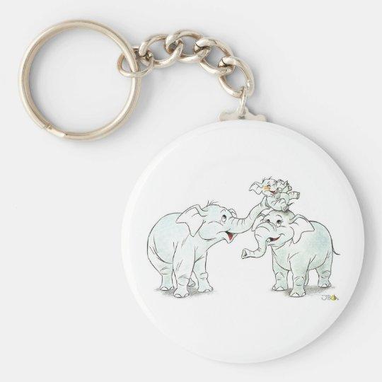 Elephant Family Basic Round Button Key Ring