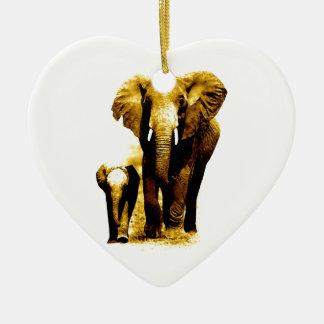 Elephant Family Ceramic Heart Decoration
