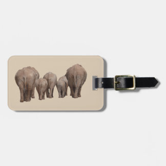 Elephant family luggage tag
