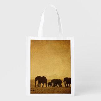 Elephant Family Reusable Grocery Bag