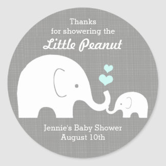 Elephant Favor Tag, Little Peanut BlueHearts Classic Round Sticker