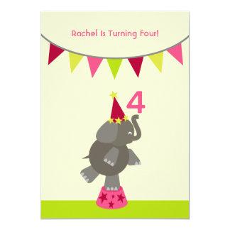 Elephant & Flags Birthday Party Invite