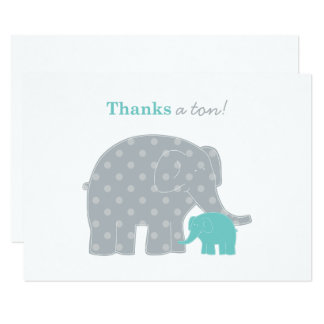 Elephant Flat Thank You Note Card | Aqua Blue Gray