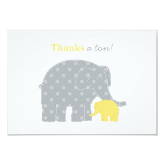 Elephant Flat Thank You Notes | Yellow and Gray 9 Cm X 13 Cm Invitation Card