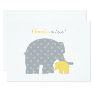 Elephant Flat Thank You Notes   Yellow and Gray Card