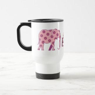 Elephant Floral Pink Silhouette Elegant Stylish Travel Mug