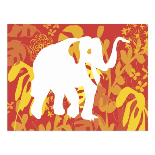Elephant Floral Safari Jungle Postcard