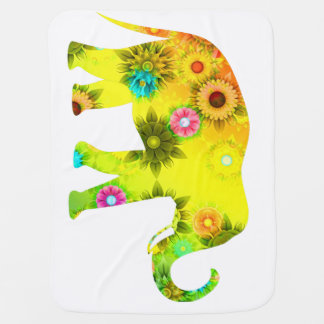 Elephant, Flower Baby Blanket