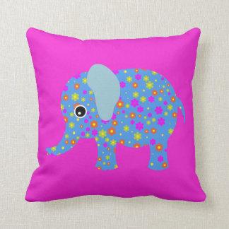 Elephant flowers cute animal girl nursery room cushion