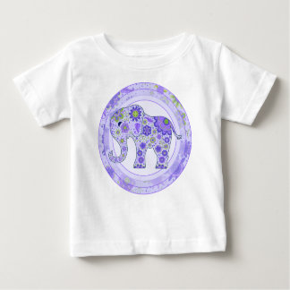 Elephant Flowers Purple Baby T-Shirt