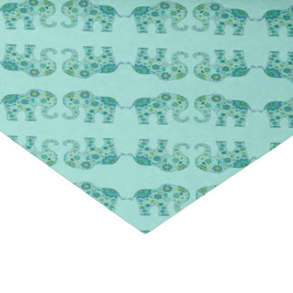 Elephant Flowers Teal Tissue Paper