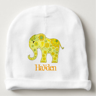 Elephant Flowers Yellow Name Template Baby Beanie