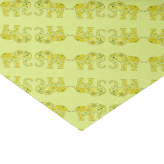 Elephant Flowers Yellow Tissue Paper