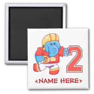 Elephant Football 2nd Birthday Square Magnet