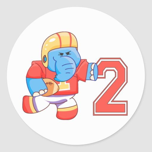 Elephant Football 2nd Birthday Classic Round Sticker