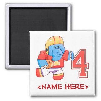 Elephant Football 4th Birthday Square Magnet