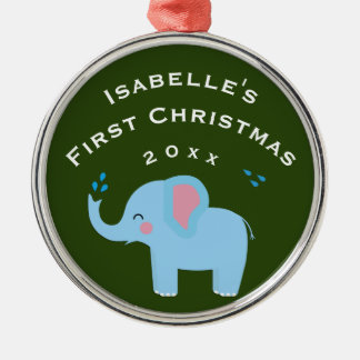 Elephant Fun Baby's 1st First Christmas Gift Green Christmas Ornament
