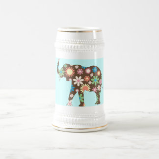 Elephant Funky retro floral flowers colorful cute Beer Steins