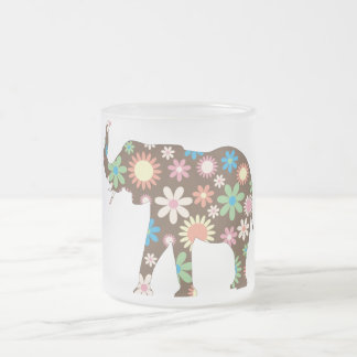 Elephant Funky retro floral flowers colorful cute Frosted Glass Mug