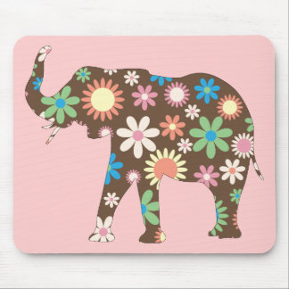 Elephant Funky retro floral flowers colorful cute Mouse Pad