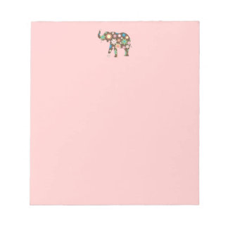 Elephant funky retro floral flowers colorful cute notepad