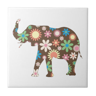 Elephant funky retro floral flowers colorful cute small square tile