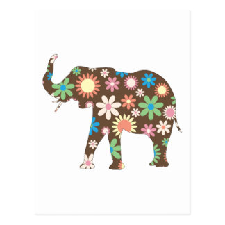 Elephant Funky retro floral flowers colourful cute Postcard