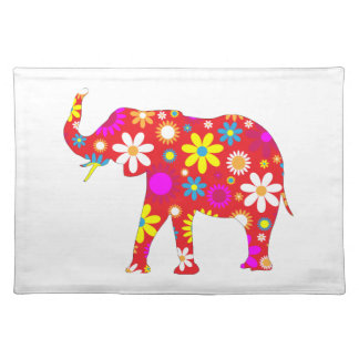 Elephant funky retro floral flowers fun placemat