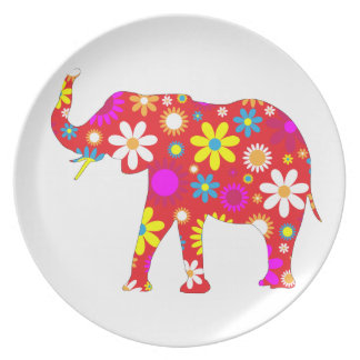 Elephant funky retro floral flowery fun dish plate