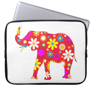 Elephant funky retro floral flowery fun laptop bag