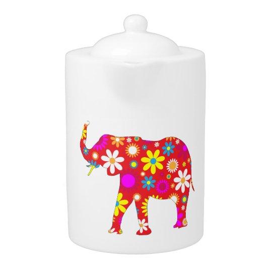Elephant funky retro floral fun flowery teapot