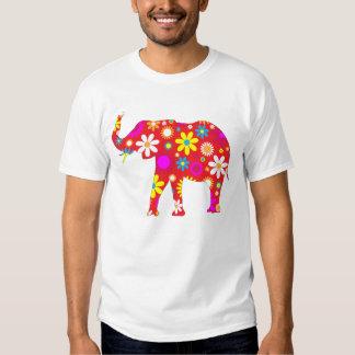 Elephant funky retro floral fun mens t-shirt