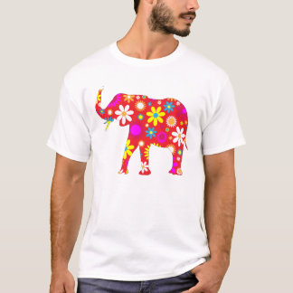Elephant funky retro floral fun mens t-shirt