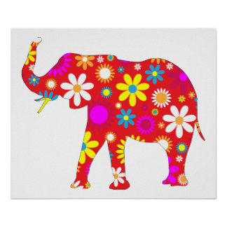 Elephant funky retro floral fun poster, print