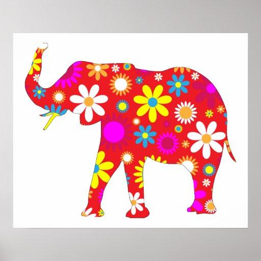 Elephant funky retro floral fun poster, print