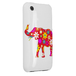 Elephant funky retro floral iphone 3G case Case-Mate iPhone 3 Cases