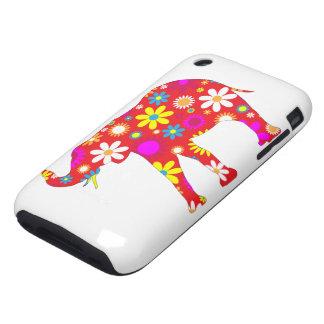 Elephant funky retro floral iphone 3G case tough iPhone 3 Tough Cover