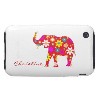 Elephant funky retro flowers custom girls name iPhone 3 tough cases