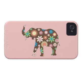 Elephant funky retro flowers floral colorful, gift iPhone 4 case