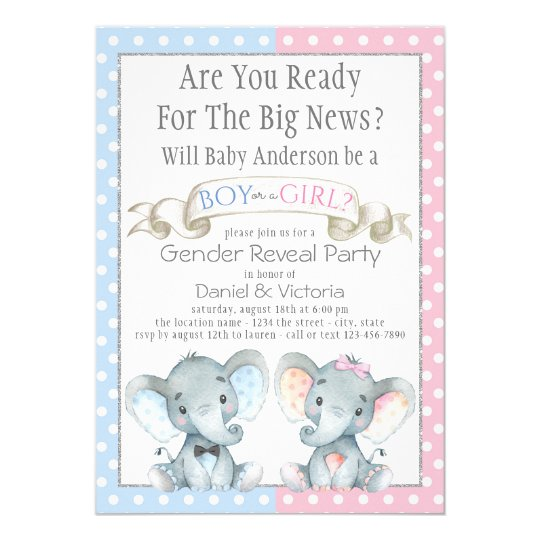 Elephant Gender Reveal Baby Shower Invitations